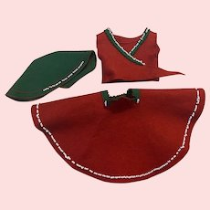 Three Piece Red and Green Outfit 1950