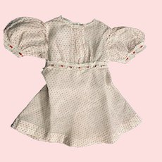 Red and White Organdy Dotted Swiss Dress for Large Dolls