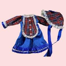 Red Tartan Plaid Dress and Bonnet
