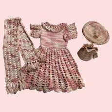 Lovely for piece vintage pink crocheted dress, scarf, hat, and purse 1950s