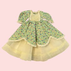 Cotton and Organdy Gown for Small Bisque and China Head Dolls