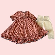 Red White Blue Dress and Pantaloons for China Head Dolls