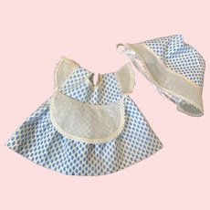 Pique and Organdy Doll Dress and Bonnet 1950s