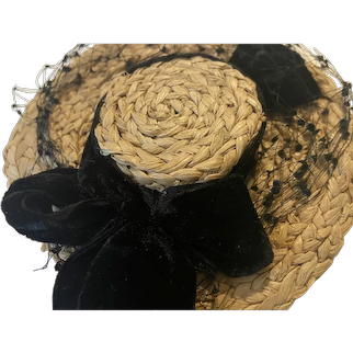 Straw Vintage Picture Hat for Small Dolls