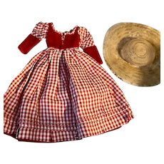 Taffeta and Velvet Gown and Hat for Composition Dolls