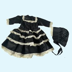 Polished Cotton Dress and Bonnet for French or German Bisque Dolls