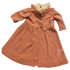 Antique Dusty-Rose Coat for Composition and Bisque Dolls