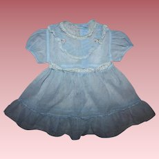 Blue Nylon Dress and Slip for Small Playpal Dolls 1950s