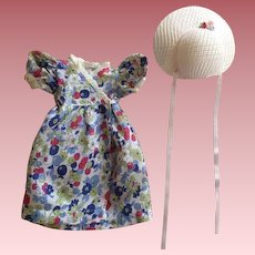Batiste Print Dress and Hat for Hard Plastic Dolls 1940s