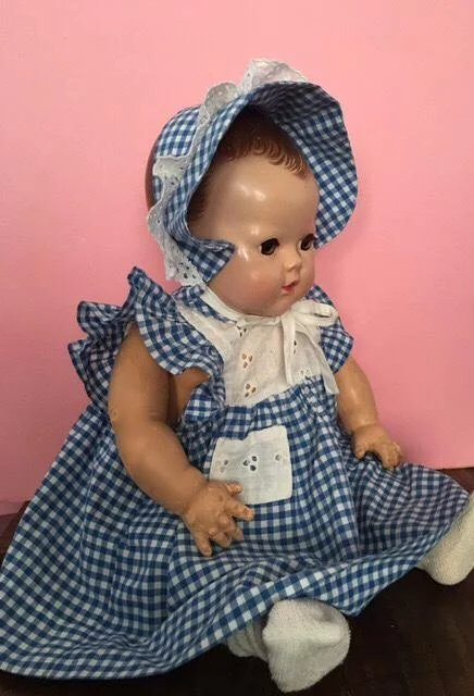 Two Piece Gingham And Eyelet Dress And Bonnet For Dy Dee