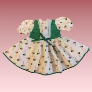 Green Print Doll Dress for Walkers 1950s