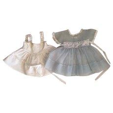 Blue Plisse Dress and Whole Slip for Hard Plastic Dolls 1950s