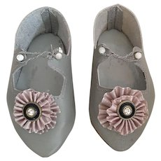 Gray Leather Shoes for your French or German Bebe