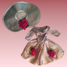Slipper Satin Cocktail Dress and Picture Hat for Fashion Dolls 1950's