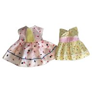 Two Taffeta and Pique Factory Un-Used Dresses for Hard Plastic Dolls 1950's