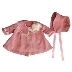 Rose-Pink Coat and Hat for Composition Dolls 1940s
