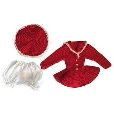 Red Knit Mary Hoyer Knit Dress and Hat 1950s
