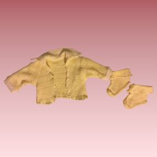 Yellow Sweater and Booties for Effanbee Dy-Dee Baby 1950's