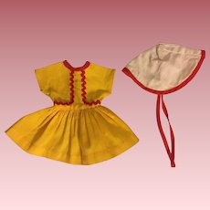 Ideal Shirley Temple Dress and Coolie Hat 1950s
