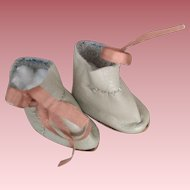 Beige Leather Ankle Boots for Bisque Dolls