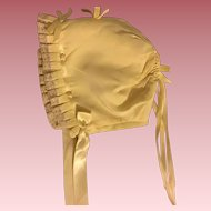 Yellow Silk Bonnet for Baby Dolls