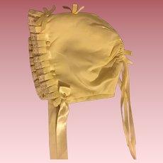 Yellow Silk Bonnet for Baby Dolls