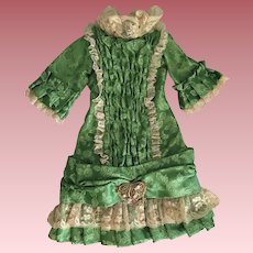 Green Dropped Waist Dress for Bisque Dolls