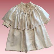 Antique Light Almond Silk Child's Coat with Cape Collar 1890