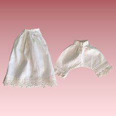 Antique Half Slip and Pantaloons for Bisque Dolls 1890