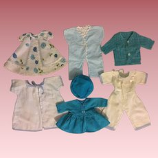 Seven Piece Layette for Small Tiny Tears and Friends 1950s in Blues