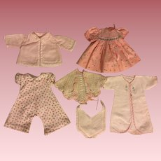Six Piece Layette for Tiny Tears and Friends in Pinks 1950s