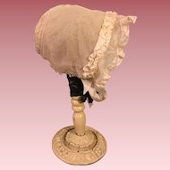 Antique Silk Tulle Baby Bonnet for Big Bisque or Composition Baby Dolls