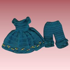 Tiny Turquoise Dress and Bloomers for Small Bisque Dolls or Doll House Dolls