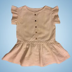 Checked Dropped Waist Cotton Dress for Large Bisque Dolls 1910