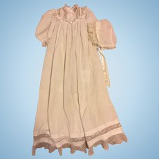 Antique Christening Gown and Bonnet for Large Bisque Dolls 1890