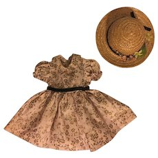 Dress, Slip, Underwear and Hat for Hard Plastic Dolls 1950s