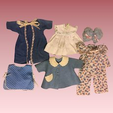 Layette Items for Tiny Tears Doll and Friends in Blues 1950s