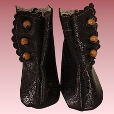 Black Side-Buckle Boots for Bisque Dolls