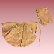 Antique Cream Tulle and Satin Kimono and Bonnet for Bisque or Composition Babies 1910