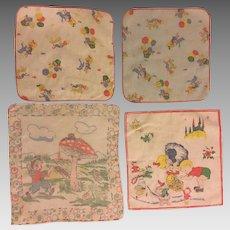 Four Vintage Children's Handkerchiefs