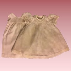 Antique Windowpane Cotton Doll Dress 1900