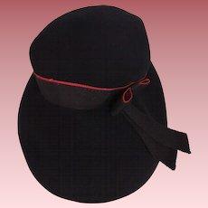 Navy Blue and Red Felt Vintage Child's Hat