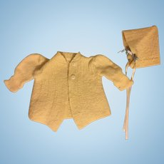 Vintage Wool Sweater and Bonnet for Baby Dolls 1920s