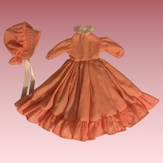 Gingham Doll Dress and Bonnet for China Heads and Parians