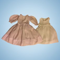 Lavender Dimity Antique Doll Dress and Slip for Bisque Dolls 1900