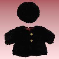 Black Fur Doll Coat and Tam