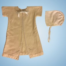 Wool Robe and Bonnet with Embroidery for Baby Dolls 1930s