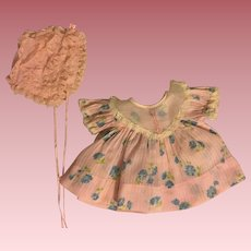 Pink Dimity Dress and Bonnet for Tiny Tears and Friends 1950s