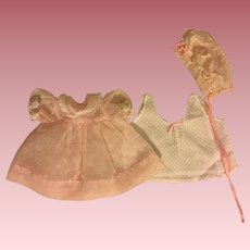 Pink Nylon Flocked Dress, Bonnet, and Slip for Tiny Tears and Friends 1950s