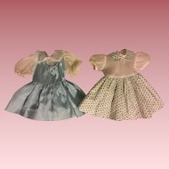 Two Twin Blue Taffeta Doll Dresses 1950s